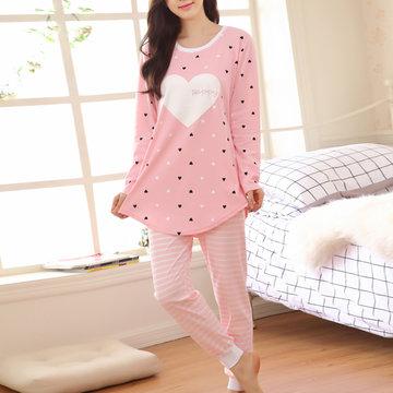Уютная круглая шея, печатает ночную рубашку с длинными рукавами для женщин
