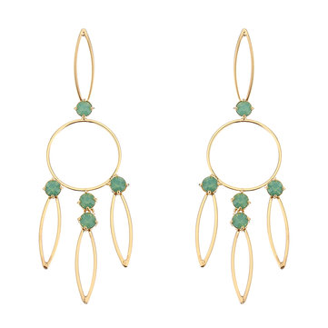 JASSY® Hollow 18K Gold Plated Pacific Opal Rhinestones Geometric Earrings Gift for Women