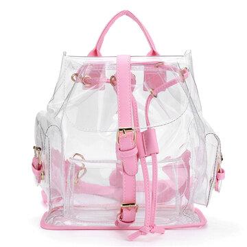 Женская девушка Clear Backpack Cute Plastic Transparent School Bag