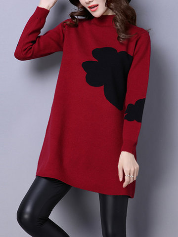 Floral Printed Long Sleeve Turtleneck Casual Mini Knitted Dresses
