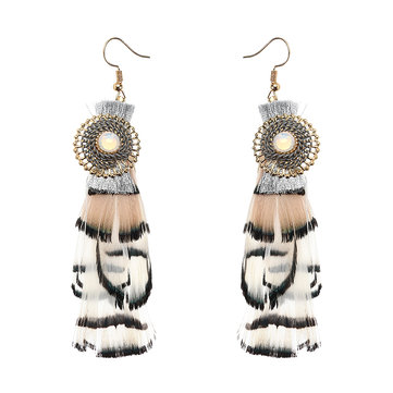 Multilayer Bohemian Feather Earrings