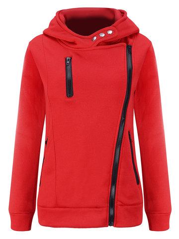 Women Pure Color Zipper Hooded Long Sleeve Sweatshirt Coats