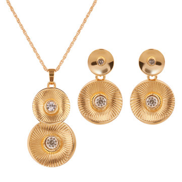 Simple Jewelry Set Gold Plated Rhinestone Round Set