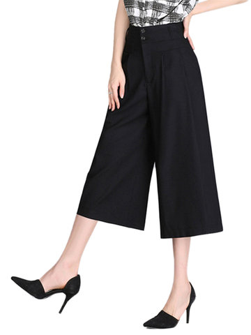 Casual Women Elastic High Waist Wide Leg Straight Loose Pants