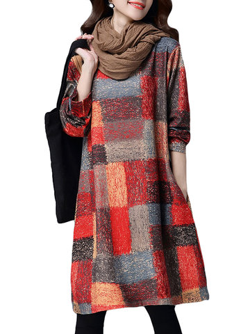 Autumn Winter Printed O-Neck Long Sleeve Knee-length Dress For Women