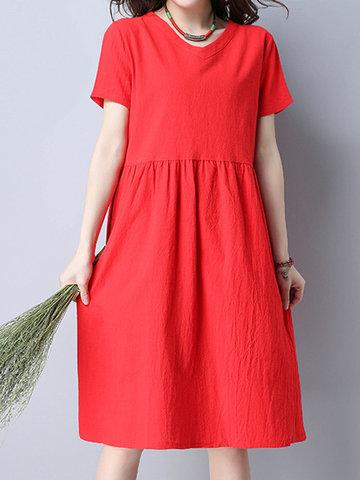 Loose Solid Short Sleeve V Neck Women Dresses