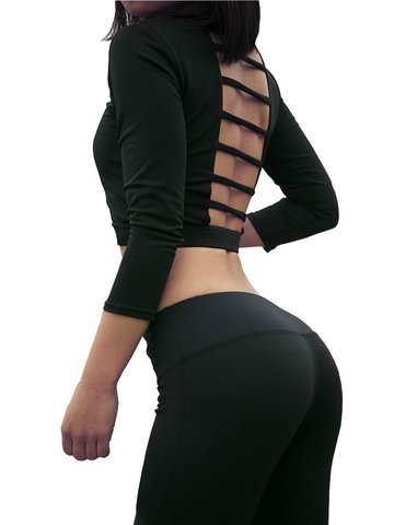 Bandage Stretch Sport Crop Tops with Padding