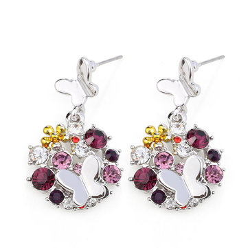 Luxury Elegant Earrings Rhinestone Butterfly Flower Women Earrings