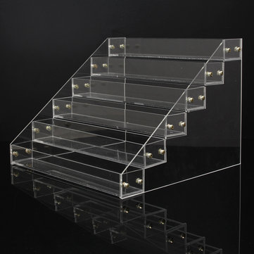 6Pcs Tiers Detachable Clear Acrylic Nail Polish Cosmetic Display Stand Racking Organizer