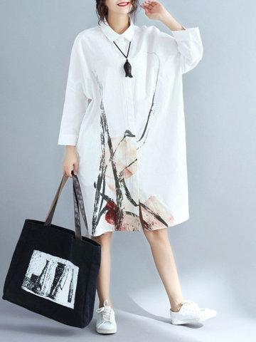 Ink Printed Loose Shirt Dresses