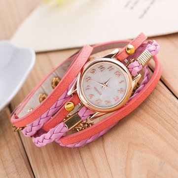 Multilayer PU Leather Band Wrap Bracelet Wrist Watch