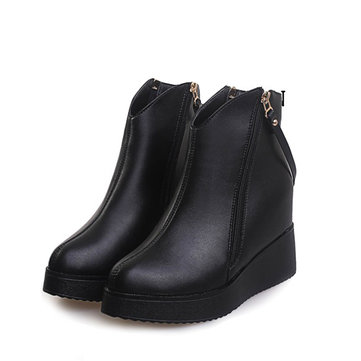 Black Heel Increasing Ankle Strap Zipper Casual Boots