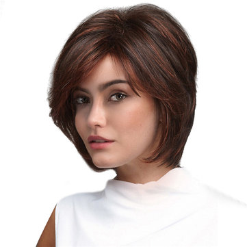 Short Red Brown Stylish Highlight Synthetic Hair Wig