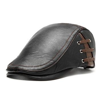 Мужские PU Кожаный  берет на шнуровкеПовседневные Зимние Теплые Ветрозащитные Регулируемые Шляпы