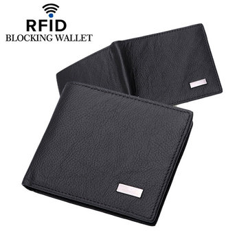 RFID Antimagnetic Wallet Genuine Leather 3 Card Holders Coin Bag For Man