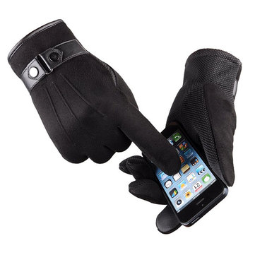 Men Solid Texting Gloves Suede Fabric Windproof Touch Screen Anti-slip Sport Working Gloves