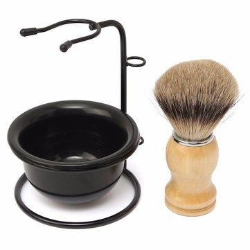 Men Shaving Razor Kit Drip Brush Stand + Badger Hair Brush + Plastic Bowl Mug