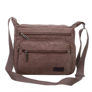 Casual Canvas Crossboay Bag Solid Convenient Multi Pocket Shoulder Bag For Man