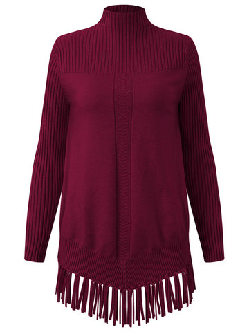 Tassel Hem Women Knitted Sweaters