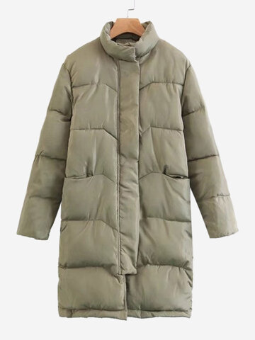 Brief Solid Color Women Thick Coats