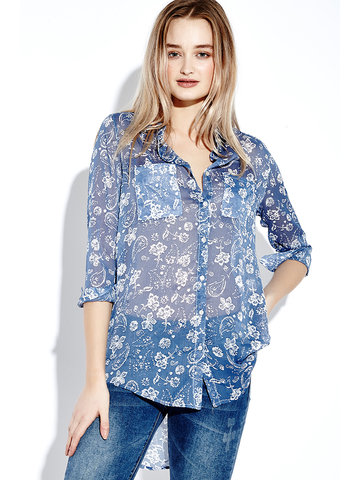 Women Long Sleeve Floral Printed Lapel Loose Long Blouse