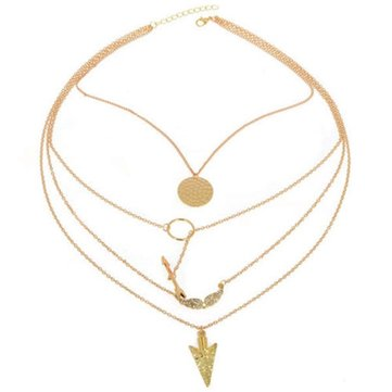 4 Layers Angel Wing Arrows Triangle Necklace