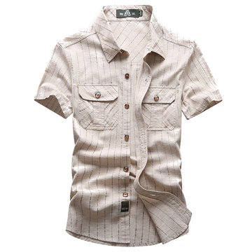 AFSJEEP Short Sleeves Striped Pockets Solid Color Pure Cotton Dress Shirt for Men