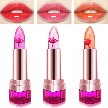 3 Colors Jelly Flower Temperature Change Lipstick Lip Gloss Balm Moisturizing No Fade Nonstick