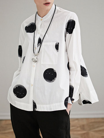 Miting Loose Dot Printed Turn-Down Collar Long Sleeve Women Blouses