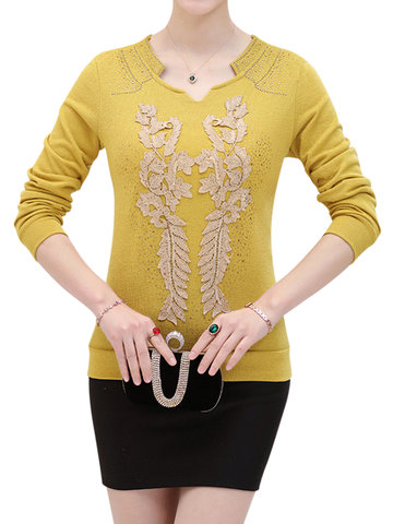 Elegant Fashion Women Diamante Long Sleeve T-shirt