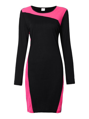 Bodycon Contrast Color Patchwork Long Sleeve Pencil Dress