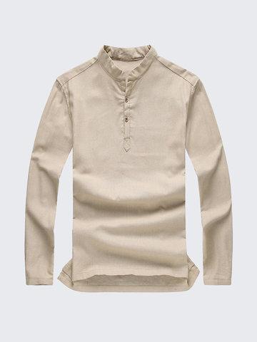 Осенняя зимняя рубашка с длинными рукавами, вентилируемая сплошным бельем, из хлопка