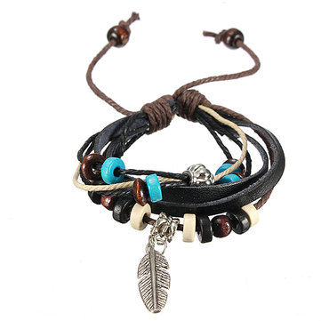 Wooden Bead Leaf Leather Bracelet