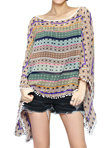 Casual O-neck Batwing Sleeves Printed Blouses Cover Up
