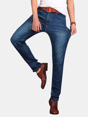 Formato più casuale di affari denim di cotone elastico jeans diritti delle gambe per gli uomini