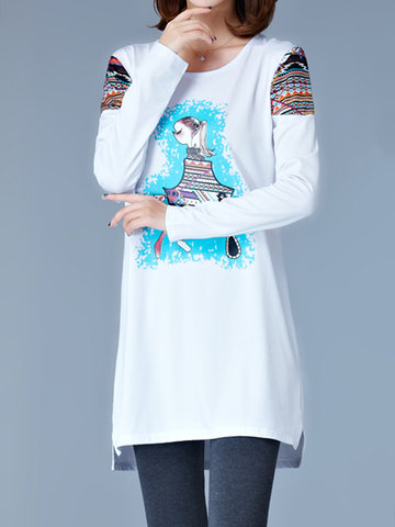 Casual Women Printed Long Sleeve Bottoming T-shirts