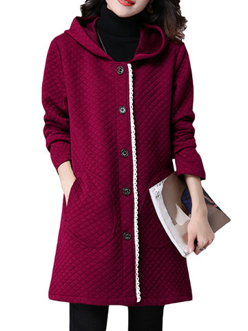 Women Loose Casual Hooded Plaid Single Breasted Pure Color Coat