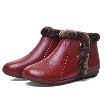Leather Fur Lining Ankle Boots