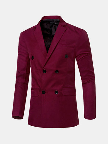 Spring Business Casual Solid Color Double Breasted Blazers for Men