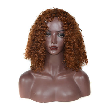 Natural Light Brown Fluffy Curly Wigs Synthetic Women High Temperature Fiber 20 Inches