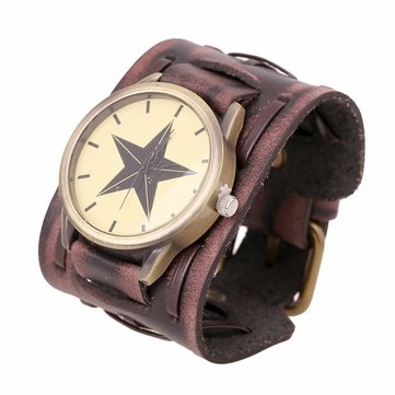 Punk Bracelet Watch Rock Star Leather Bracelet Watch for Men Gift