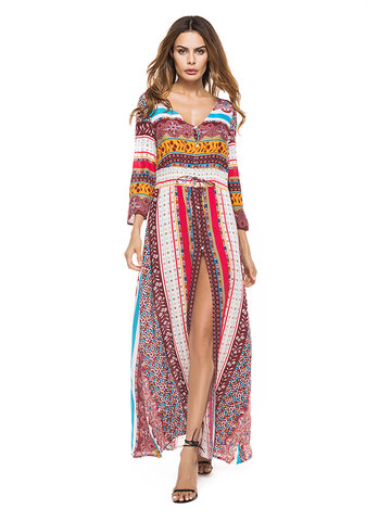 Bohemian Women Sexy Floral Printed V-Neck Split Maxi Dress