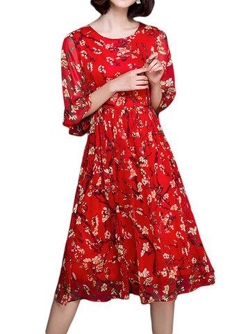 Женщины с половиной рукавом O шеи цветочные печатные шифон Vintage платье