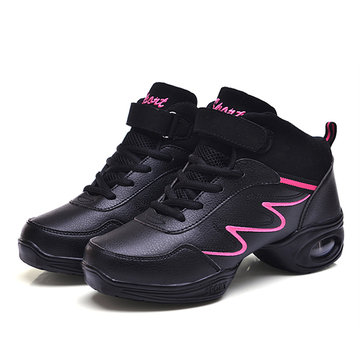 Leather Soft Sole Breathable Lace Up Sport Dance Jazzy Shoes