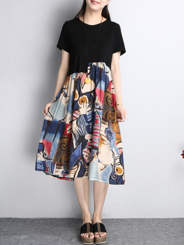 O-NEWE Splicing Printed Short Sleeves O Neck Dresses