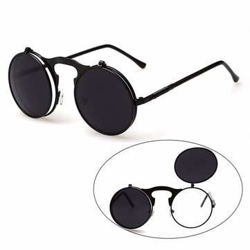 Men Women Vintage Steampunk Goggles Round Metal Flip Up Lens Sunglasses Eyewear