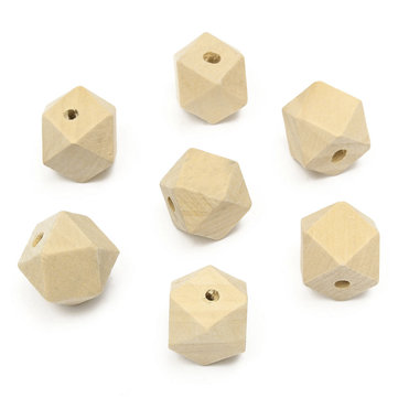 DIY 15pcs 20mm Beads Geometric Wood Bead Natural Wooden Beads