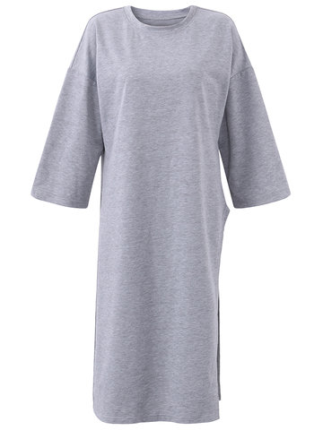 Casual Loose Solid Color O-Neck Half Sleeve Women Dresses