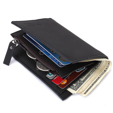 Men Business Casual Genuine Leather Card Holder Wallet Short Purse