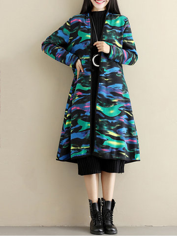 Ethnic Floral Print Multi-Color Thicken Long Sleeve Women Coats